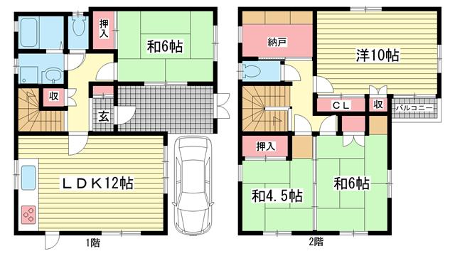 物件番号: 1025853353 垂水区大町2丁目貸家  神戸市垂水区大町2丁目 4LDK 貸家 間取り図