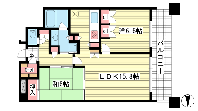 物件番号: 1025853372 トア山手 ザ・神戸タワー  神戸市中央区中山手通3丁目 2LDK マンション 間取り図