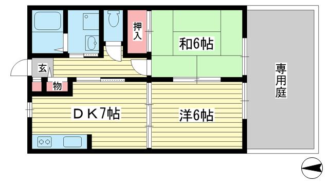 物件番号: 1025853525 サンヒルハイツ  神戸市長田区重池町1丁目 2DK ハイツ 間取り図