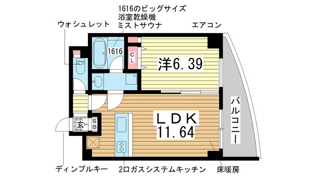 物件番号: 1025853911 ワイズコーポレーションビルディング  神戸市中央区下山手通2丁目 1LDK マンション 間取り図
