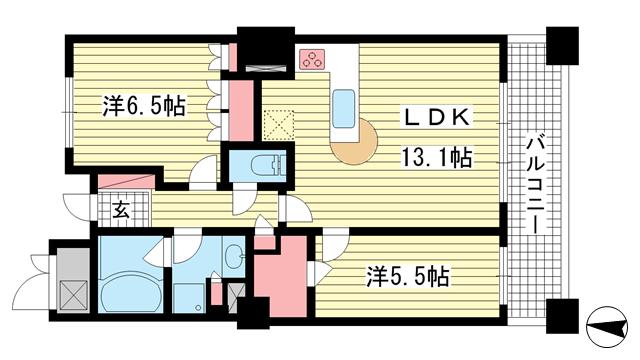 物件番号: 1025854083 ライオンズタワー神戸旧居留地  神戸市中央区伊藤町 2LDK マンション 間取り図