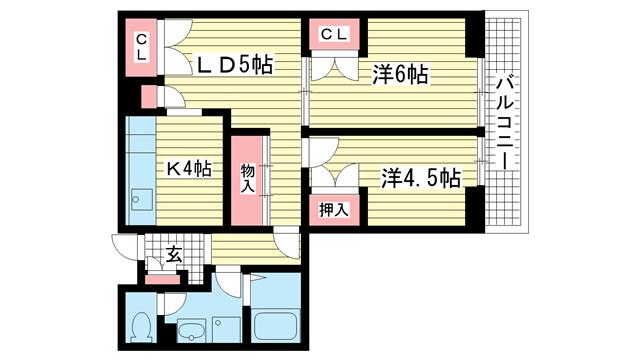 物件番号: 1025854160 昭和レジデンス  神戸市兵庫区矢部町 2LDK マンション 間取り図