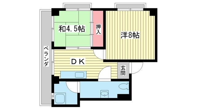 物件番号: 1025854705 合和マンション  神戸市中央区北野町3丁目 2DK マンション 間取り図
