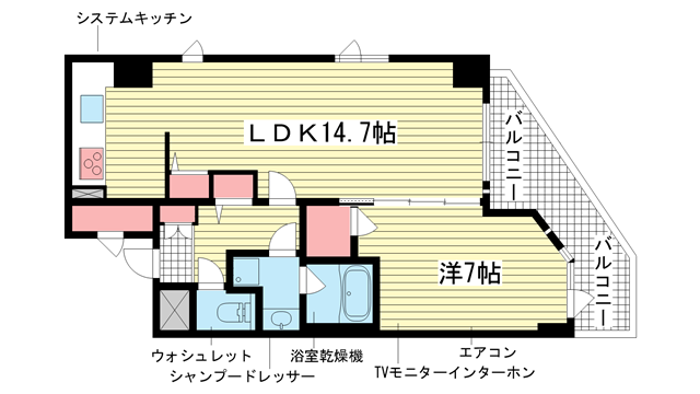物件番号: 1025854884 プレサンス神戸駅前グランツ  神戸市中央区中町通3丁目 1LDK マンション 間取り図