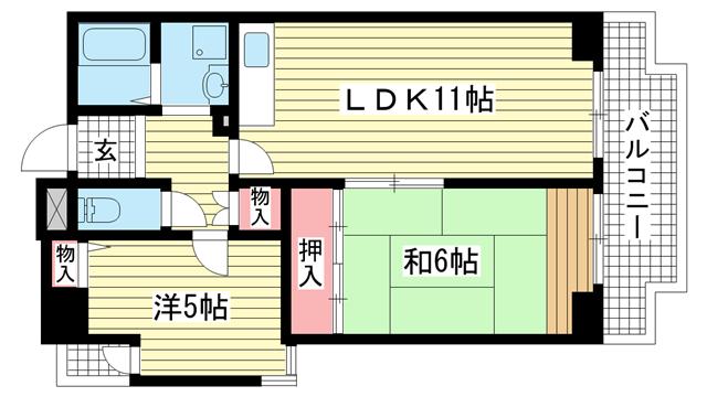 物件番号: 1025855045 ホロン・コート神戸  神戸市兵庫区塚本通1丁目 2LDK マンション 間取り図