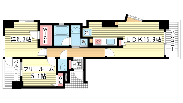 物件番号: 1025855429 ワコーレ中山手I.C.  神戸市中央区中山手通4丁目 1SLDK マンション 間取り図