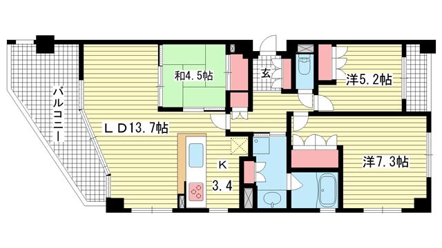 物件番号: 1025855546 パークタワー新神戸  神戸市中央区熊内町7丁目 2SLDK マンション 間取り図