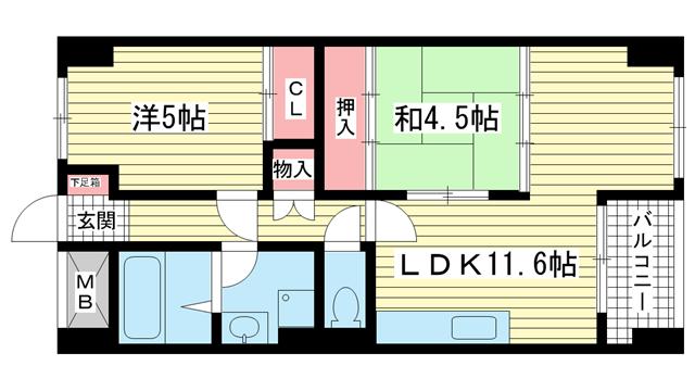 物件番号: 1025855549 中山手コーポ  神戸市中央区中山手通2丁目 2LDK マンション 間取り図