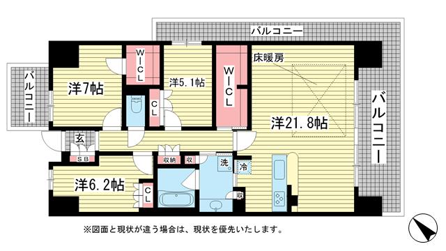 物件番号: 1025855556 ワコーレシティ神戸三宮  神戸市中央区浜辺通6丁目 3LDK マンション 間取り図
