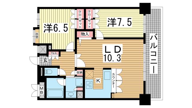 物件番号: 1025856039 リーガル神戸下山手  神戸市中央区下山手通3丁目 2LDK マンション 間取り図