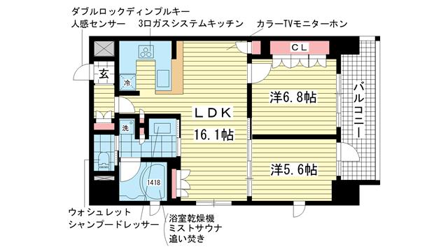 物件番号: 1025856582 リーガル神戸三宮山手  神戸市中央区下山手通2丁目 2LDK マンション 間取り図