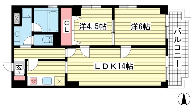 物件番号: 1025856594 グランドビスタ北野  神戸市中央区加納町2丁目 2LDK マンション 間取り図