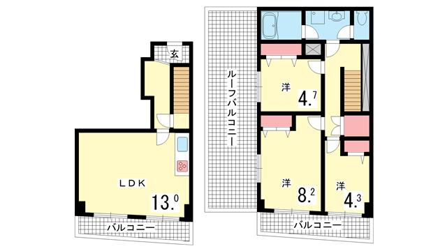 物件番号: 1025856694 ノベラ海岸通  神戸市中央区海岸通5丁目 3LDK マンション 間取り図