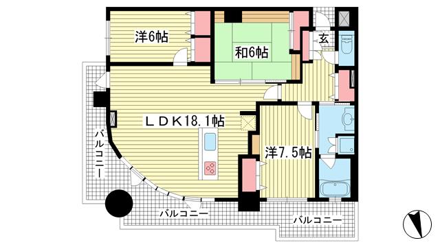 物件番号: 1025857036 インペリアル新神戸  神戸市中央区加納町2丁目 3LDK マンション 間取り図