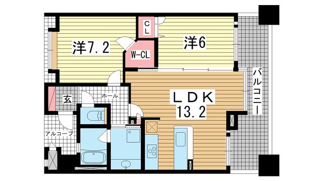 物件番号: 1025857378 KAISEI新神戸第2WEST  神戸市中央区布引町2丁目 2LDK マンション 間取り図