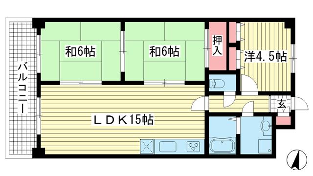 物件番号: 1025857536 パレルミエール岡本  神戸市東灘区田中町3丁目 3LDK マンション 間取り図