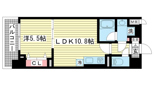 物件番号: 1025857847 L・Isobe三宮  神戸市中央区磯辺通1丁目 1LDK マンション 間取り図