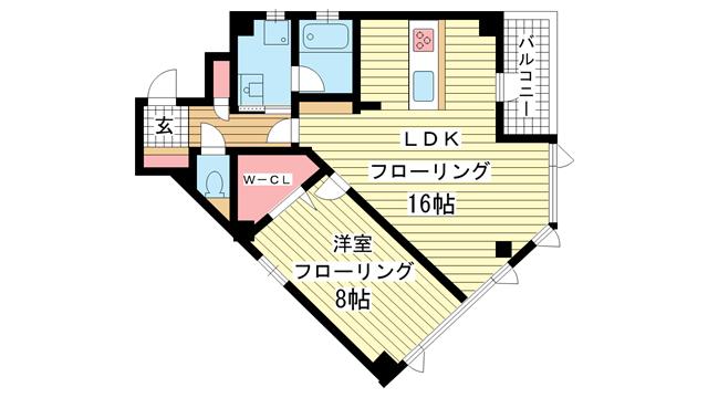 物件番号: 1025857976 第10フタバビル  神戸市中央区加納町3丁目 1LDK マンション 間取り図