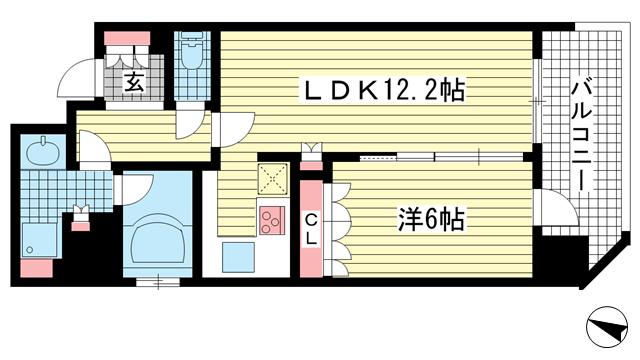 物件番号: 1025858188 リーガル神戸海岸通り  神戸市中央区海岸通4丁目 1LDK マンション 間取り図