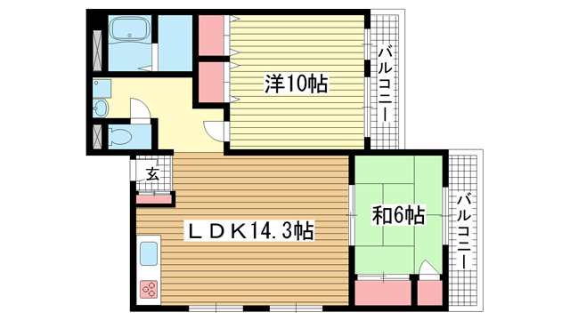 物件番号: 1025858984 ときわ新神戸レクラン  神戸市中央区熊内町5丁目 2LDK マンション 間取り図