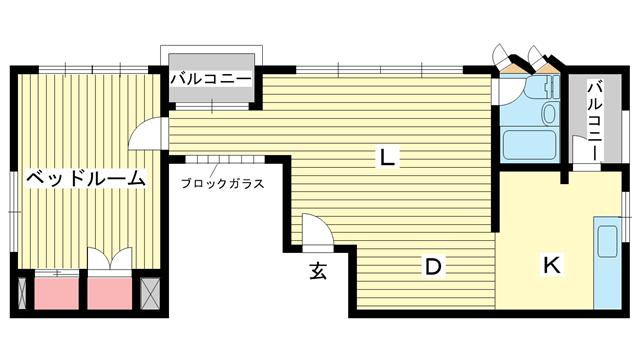 物件番号: 1025858993 第2スカイマンション  神戸市中央区北野町4丁目 1LDK マンション 間取り図