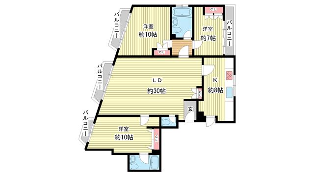 物件番号: 1025859187 第3スカイマンション  神戸市中央区北野町4丁目 3LDK マンション 間取り図