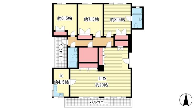 物件番号: 1025859188 第4スカイマンション  神戸市中央区北野町2丁目 3LDK マンション 間取り図