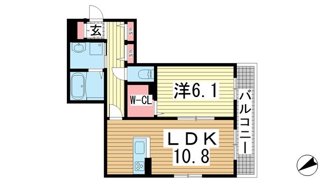 物件番号: 1025859551 パーチェ中山手  神戸市中央区中山手通4丁目 1LDK マンション 間取り図