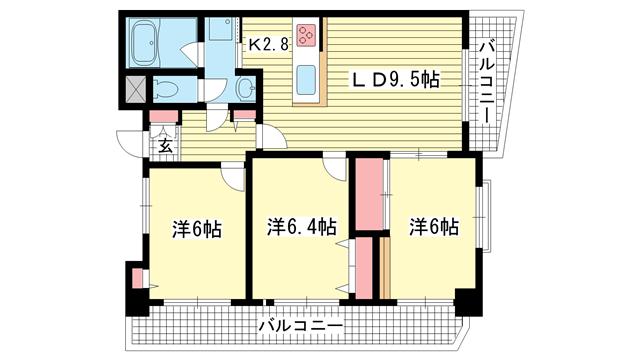 物件番号: 1025859804 セントラルハイツ神戸橘通  神戸市中央区橘通4丁目 3LDK マンション 間取り図