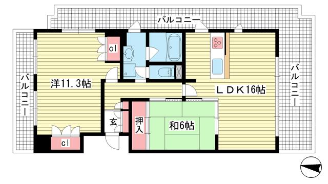 物件番号: 1025860141 ヒルズ神戸大倉山  神戸市中央区楠町3丁目 2LDK マンション 間取り図