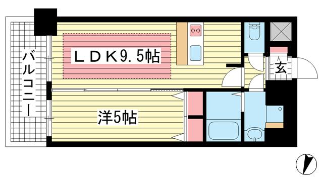 物件番号: 1025860145 プレサンス三宮東フィール  神戸市中央区筒井町3丁目 1LDK マンション 間取り図