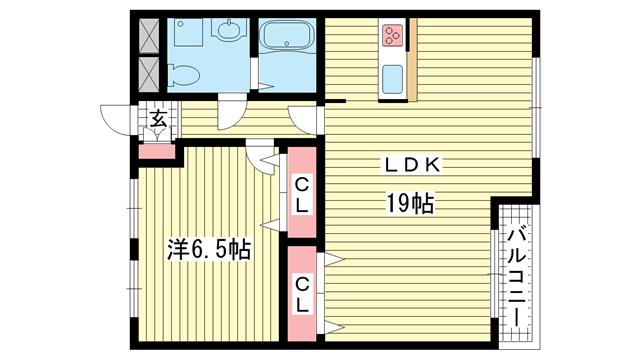 物件番号: 1025860206 上春日野ハイツ  神戸市中央区神仙寺通4丁目 1LDK マンション 間取り図