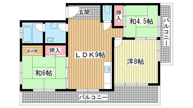 物件番号: 1025860292 新神戸マンション  神戸市中央区熊内町7丁目 3LDK マンション 間取り図
