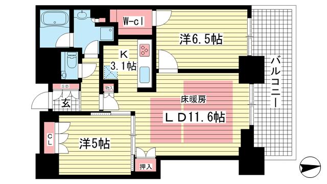 物件番号: 1025860616 シティタワー神戸三宮  神戸市中央区旭通4丁目 2LDK マンション 間取り図
