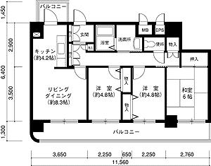 物件番号: 1025860627 ロイヤルヴィレッジ  神戸市兵庫区西上橘通1丁目 3LDK マンション 間取り図