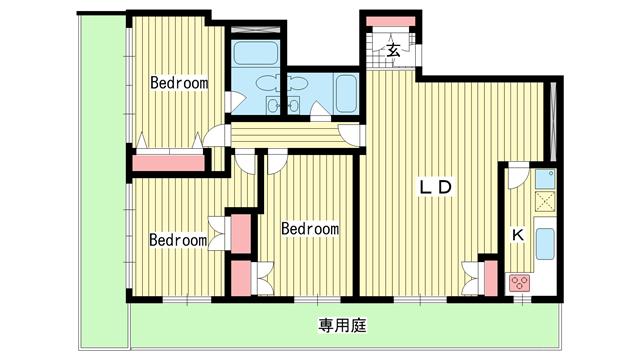 物件番号: 1025860819 第3スカイマンション  神戸市中央区北野町4丁目 3LDK マンション 間取り図