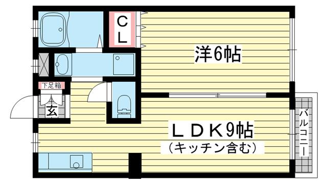 物件番号: 1025860928 中山手ガーデンパレスD棟  神戸市中央区中山手通7丁目 1LDK アパート 間取り図