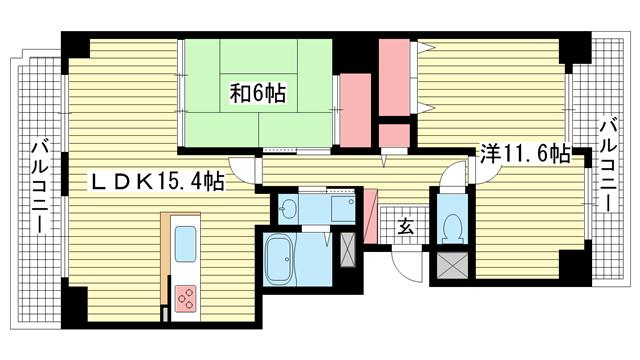 物件番号: 1025861051 グランドメゾン三宮  神戸市中央区磯上通2丁目 2LDK マンション 間取り図