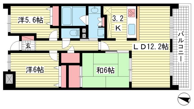 物件番号: 1025861219 プラネソシエ御影山手  神戸市東灘区御影山手1丁目 3LDK マンション 間取り図