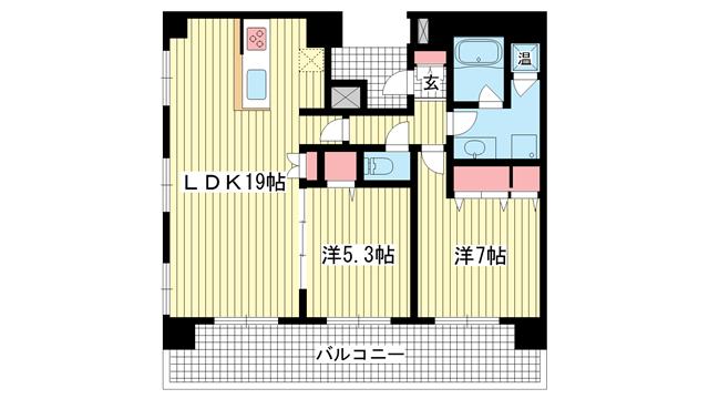 物件番号: 1025861238 ロイヤル神戸三宮  神戸市中央区加納町4丁目 2LDK マンション 間取り図