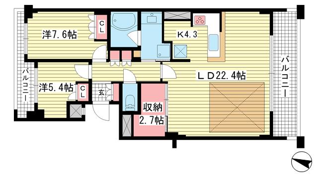 物件番号: 1025861240 ワコーレ ザ・トアロードレジデンス  神戸市中央区中山手通2丁目 2SLDK マンション 間取り図