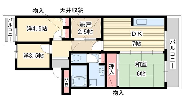物件番号: 1025861376 横尾(UR)  神戸市須磨区横尾 3DK マンション 間取り図