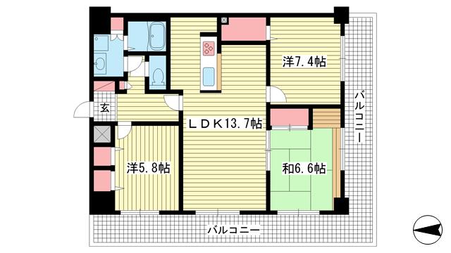物件番号: 1025861407 グランシティ三宮  神戸市中央区雲井通2丁目 3LDK マンション 間取り図