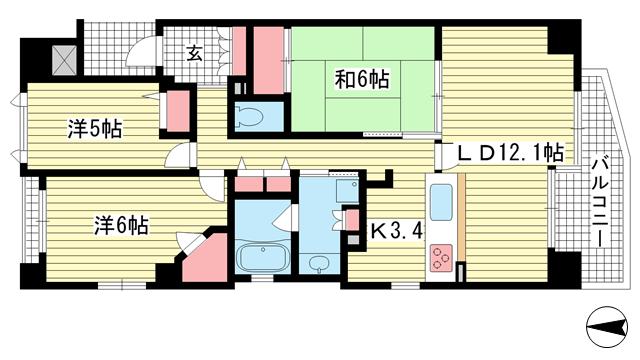 物件番号: 1025861434 ルイシャトレ新神戸スイーツ  神戸市中央区旗塚通6丁目 3LDK マンション 間取り図