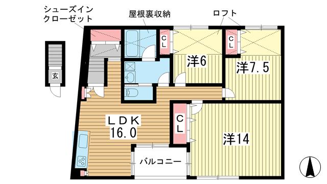 物件番号: 1025861437 花隈岩崎マンション  神戸市中央区花隈町 3LDK マンション 間取り図