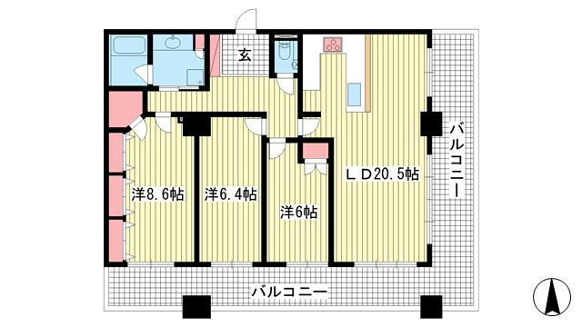 物件番号: 1025861833 ライオンズタワー神戸旧居留地  神戸市中央区伊藤町 3LDK マンション 間取り図