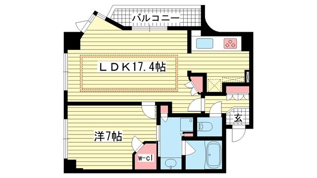 物件番号: 1025861856 ファスタージュ相楽園  神戸市中央区中山手通5丁目 1LDK マンション 間取り図