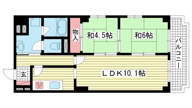 物件番号: 1025861883 グランドビスタ北野  神戸市中央区加納町2丁目 2LDK マンション 間取り図
