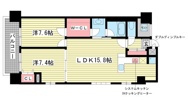 物件番号: 1025861886 ローレル元町サンセール  神戸市中央区元町通3丁目 2LDK マンション 間取り図