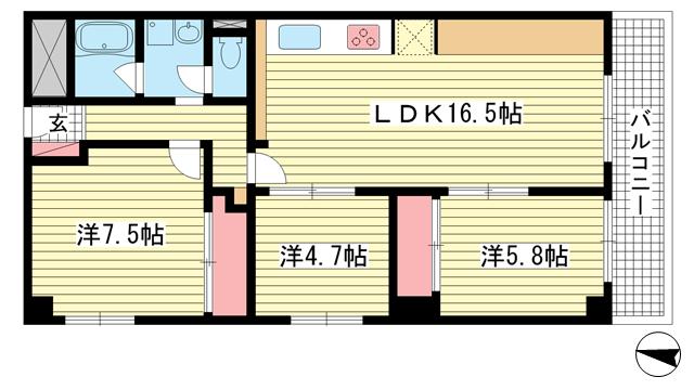 物件番号: 1025862219 諏訪山スカイハイツ  神戸市中央区山本通4丁目 3LDK マンション 間取り図